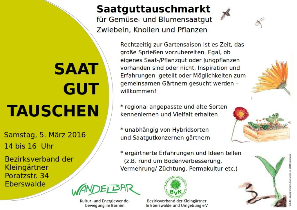 Saatgut-Tausch 2016: 5. März 14-16oo, Poratzstr. 34, Eberswalde